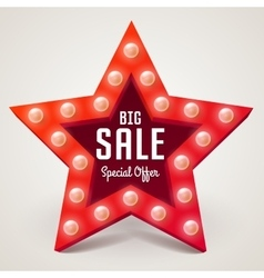 Big sale retro light banner vector