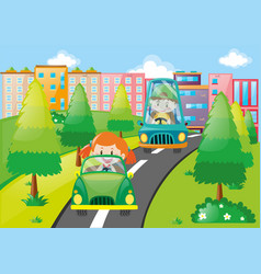 boy and girl driving cars in the park vector image