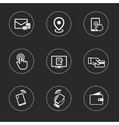 Business icon set outline flat collection vector image
