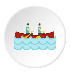 Canoe with two athletes icon circle vector