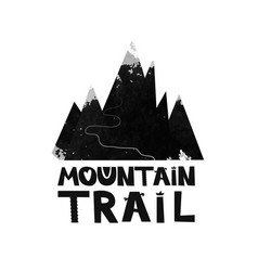 Card mountain trail to the top black and white vector