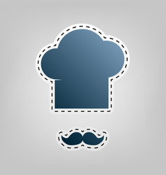 Chef hat and moustache sign blue icon vector