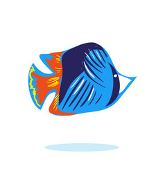 cute cartoon fish character mascot isolated vector image