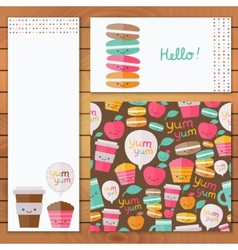 Cute food set of design element vector