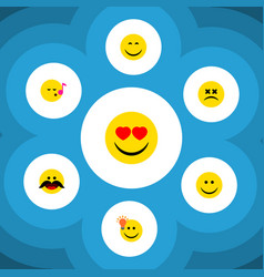 Flat icon expression set of cross-eyed face smile vector