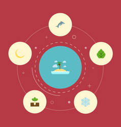Flat icons winter snow playful fish foliage and vector