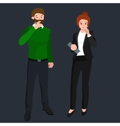 funny cartoon office worker smoking cigarette vector image