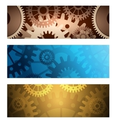Gears Banners set vector image vector image