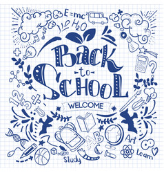 Hand-drawn back to school sketchy notebook vector