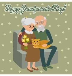 Happy senior man woman family sitting on the sofa vector image vector image