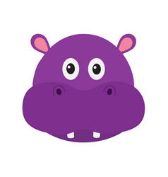 hippopotamus head face cute cartoon character vector image