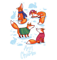 merry christmas cute greeting card with cartoon vector image vector image