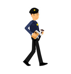 police officer character walking with coffee and vector image vector image