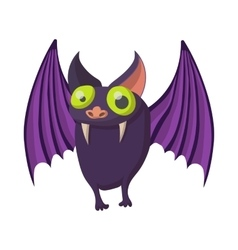 Purple bat icon cartoon style vector image