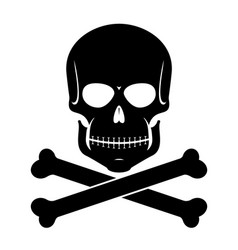 Scull and bones black on white vector