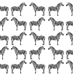 Seamless pattern with zebra silhouette vector image