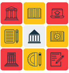 Set of 9 education icons includes paper college vector