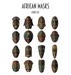 Set of african ethnic tribal masks vector