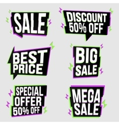 Set of bright glitched banners vector image vector image
