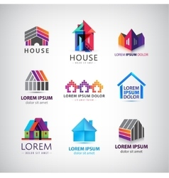 set of colorful house village property vector image