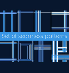 Set of seamless patterns with stripes in a cage vector