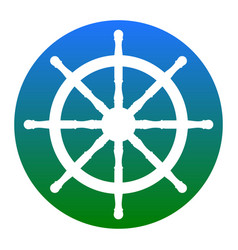 Ship wheel sign white icon in bluish vector