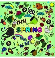 Spring line art design vector image