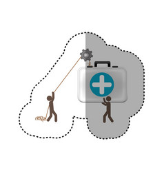 Sticker colorful workers with pulley holding first vector