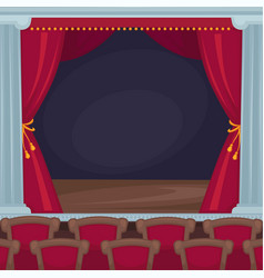theatre stage with red velvet curtains and vector image