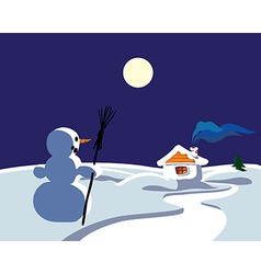 Winter landscape with snowman vector image vector image