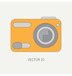 Line flat icon with digital mini camera vector