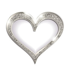 Silver frame heart on a white background vector