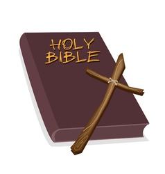 A brown holy bible with a wooden cross vector