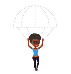 Happy woman in vr headset flying with parachute vector