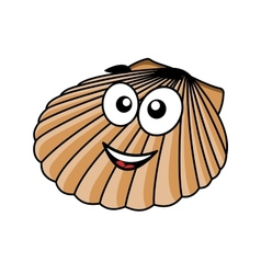 Cartoon seashell with a happy smile vector