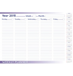 Weekly planner english vector