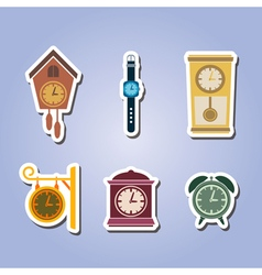 Set of color icons with clock vector