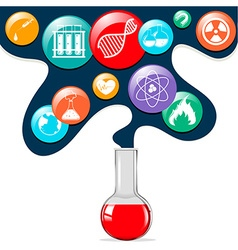 Science symbols and glass beaker vector