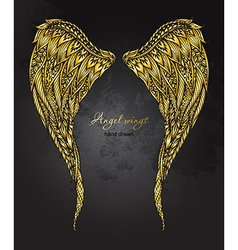 Hand drawn ornate golden angel wings in zentangle vector