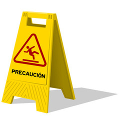 Precaucion caution two panel yellow sign vector