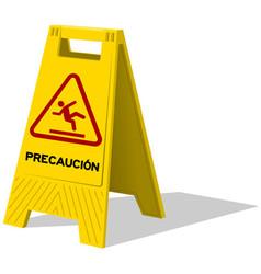 Precaucion caution two panel yellow sign vector image