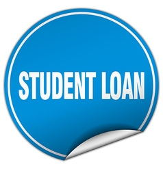 Student loan round blue sticker isolated on white vector