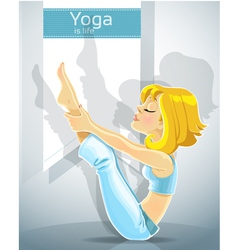 Cute blond girl in a yoga pose meru danda asana vector