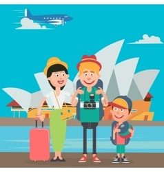 Happy family travelling to europe vector