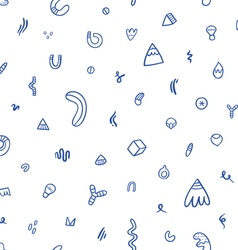 Abstract blue doodles seamless pattern vector image
