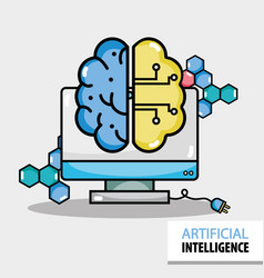 artificial brain circuits with computer technology vector image