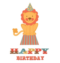 Birthday card with lion vector
