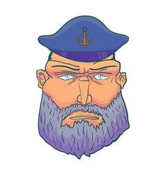 Cartoon aptain sailor face with Beard and Cap vector image