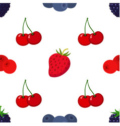 Cartoon berries pattern strawberry blueberry vector