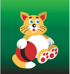 cat and ball vector image vector image